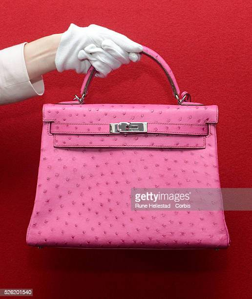Hermes Kelly at a pre- auction photo calls for Hermes handbags at Bonhams, Knightsbridge.