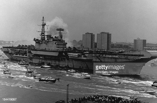 HMS Hermes Returns To Portsmouth 21 July 1982 Photographs By Royal Navy Official Photographers HMS HERMES returns to Portsmouth from the Falklands 21...