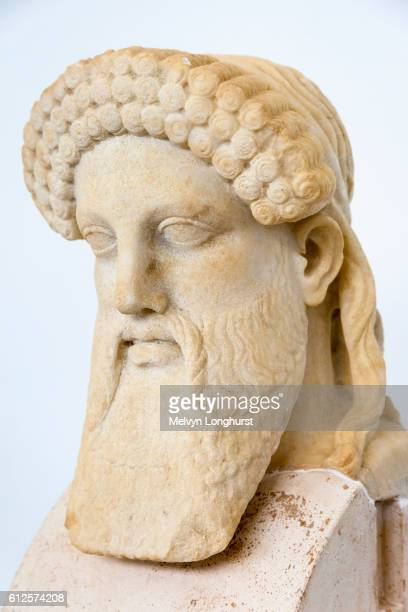 hermes, stone carving, delos museum, delos archaeological site, delos, near mykonos, greece - hermes stock pictures, royalty-free photos & images