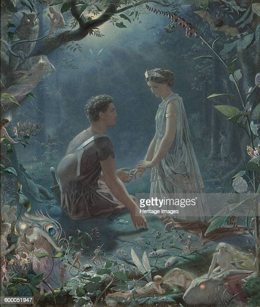 Hermia and Lysander A Midsummer Night's Dream 1870 Private Collection Artist Simmons John