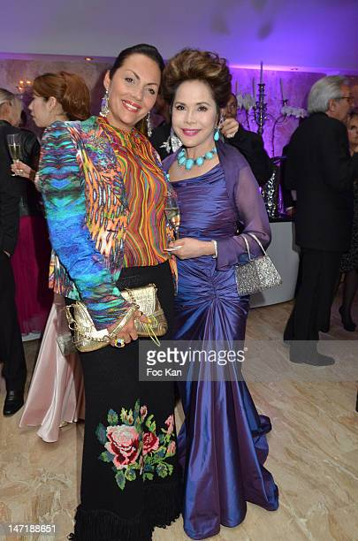 Hermine de Clermont Tonnerre and Dewi Sukarno attend the Chateau de Saint Cloud Gala Auction Dinner at the Salons Hoche on June 26 2012 in Paris...