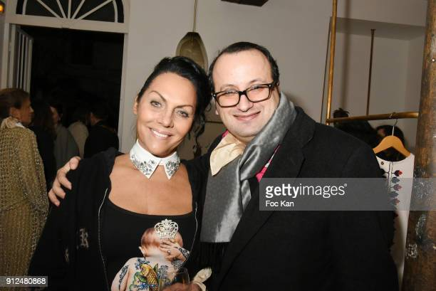 Hermine de Clermont Tonnerre and fashion designer Georges Bedran attend Antik Batik Party at Antik Batik Shop Rue des Minimes on January 30 2018 in...
