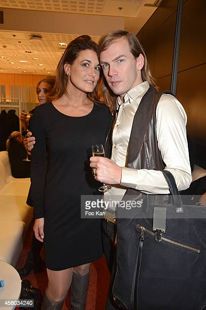 Hermine de Clermont Tonnerre and French fashion designer Christophe Guillarme attend the 'Salon Du Chocolat - Chocolate Fair -: 20th Anniversary' At...