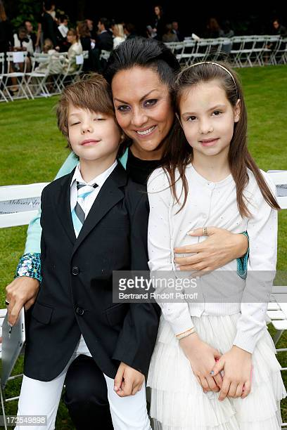 Hermine de ClermontTonnerre and her children Allegra and Calixte attend the Frank Sorbier show as part of Paris Fashion Week HauteCouture Fall/Winter...