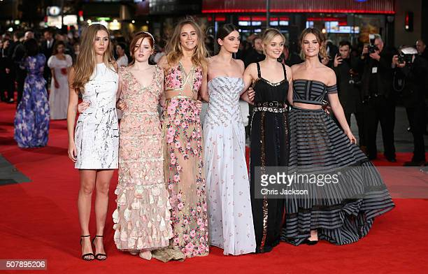 Hermione Corfield Ellie Bamber Suki Waterhouse Millie Brady Bella Heathcote and Lily James attend the European premiere of 'Pride And Prejudice And...
