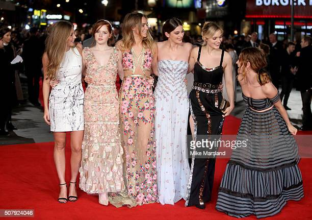 Hermione Corfield Ellie Bamber Suki Waterhouse Millie Brady Bella Heathcote and Lily James attend attends the red carpet for the European premiere...