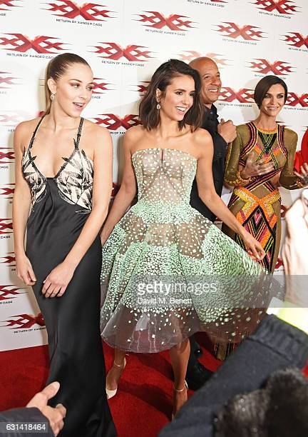 Hermione Corfield Nina Dobrev Vin Diesel and Ruby Rose attend the European Premiere of 'xXx' Return of Xander Cage' at The Cineworld O2 Arena on...