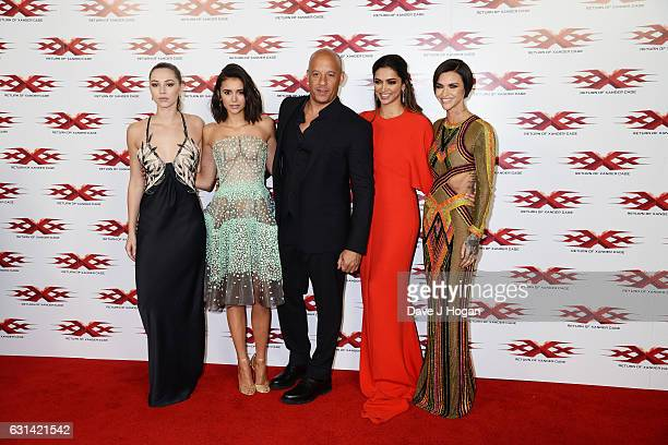 Hermione Corfield Nina Dobrev Vin Diesel Deepika Padukone and Ruby Rose attend the premiere of 'XXXReturn Of Xander Cage' at O2 Cineworld on January...