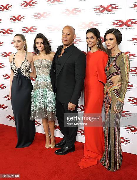 Hermione Corfield Nina Dobrev Vin Diesel Deepika Padukone and Ruby Rose attend the European Premiere of Paramount Pictures' xXx Return of Xander Cage...