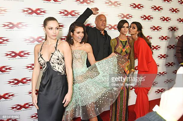 Hermione Corfield Nina Dobrev Vin Diesel Ruby Rose and Deepika Padukone attend the European Premiere of 'xXx' Return of Xander Cage' at The Cineworld...