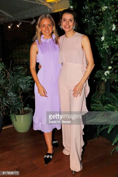 Hermione Underwood and Sabine Roemer attend a Valentine's dinner at The Living Room Champagne and Cocktail Bar by PerrierJouet at Restaurant Ours on...