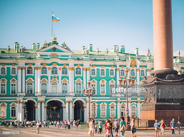 hermitage museum and alexander column in st. petersburg - winter palace st. petersburg stock photos and pictures