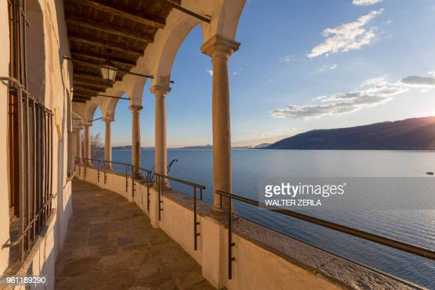 hermitage of santa caterina del sasso, lake maggiore, varese, lombardy, italy - varese stock pictures, royalty-free photos & images