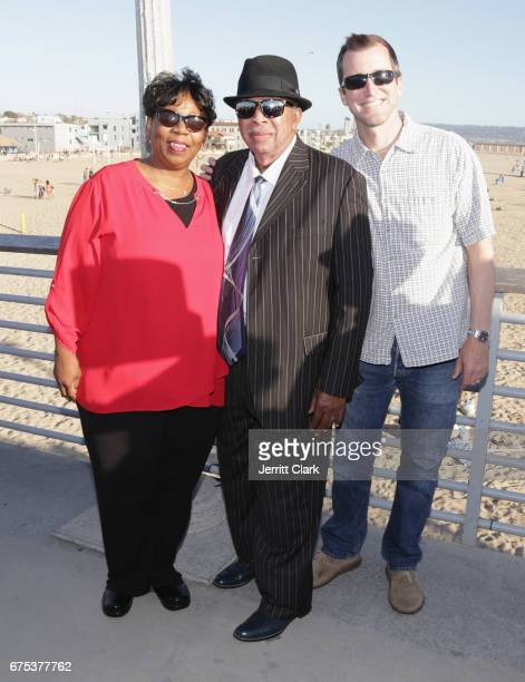 Hermosa Beach Mayor Justin Massey poses with Actors Karen Woods and Tommy Woods during Hermosa Beach Pier Celebration Of 'La La Land' Day at Hermosa...