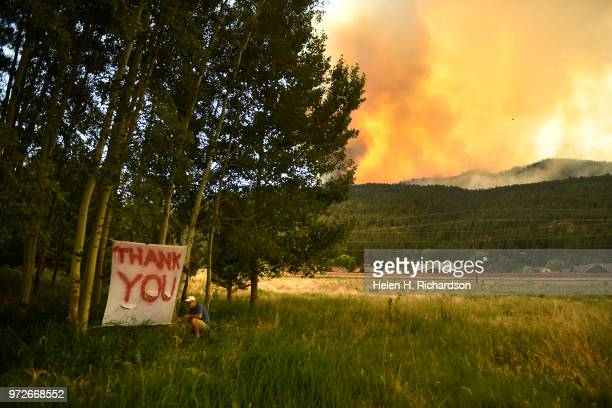 Hermosa resident Andy Dougherty and his wife Mandy not pictured made a sign to thank firefighters for saving their home from the 416 fire on June 12...