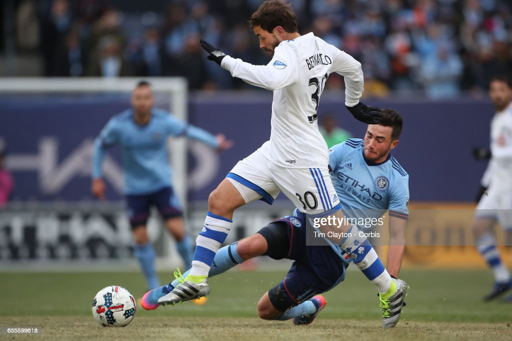 Hernan Bernardello #30 of Montreal Impact is challenged by Jack Harrison #11 of New York City FC during the New York City FC Vs Montreal Impact regular season MLS game at Yankee Stadium on March 18, 2017 in New York City.