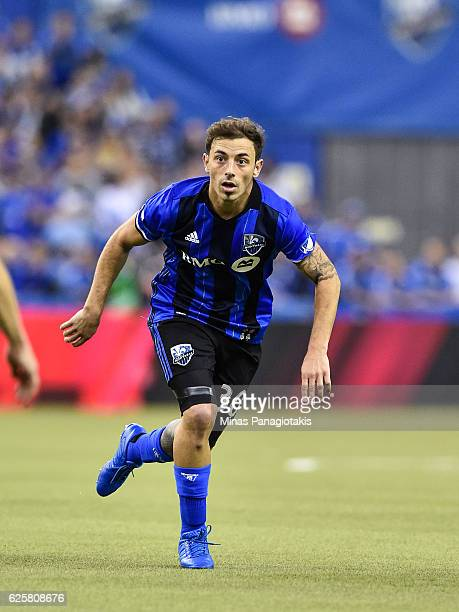 Hernan Bernardello of the Montreal Impact runs during leg one of the MLS Eastern Conference finals against the Toronto FC at Olympic Stadium on...