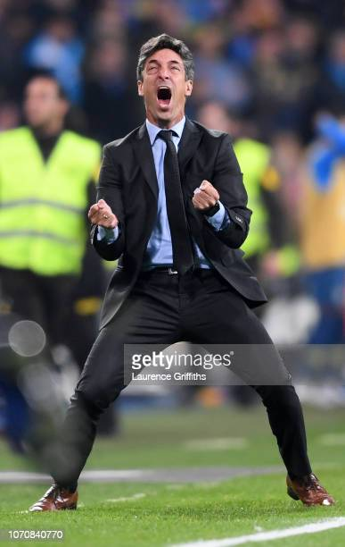 Hernan Bujan River Plate Assistant Manager celebrates after Lucas Pratto scores their team's first goal during the second leg of the final match of...