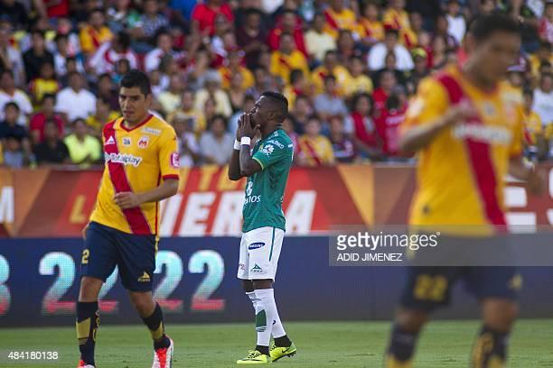 Hernan Burbano of Leon reacts during their Mexican Apertura 2015 tournament football match against Monarcas at the Jose Maria Morelos stadium on...