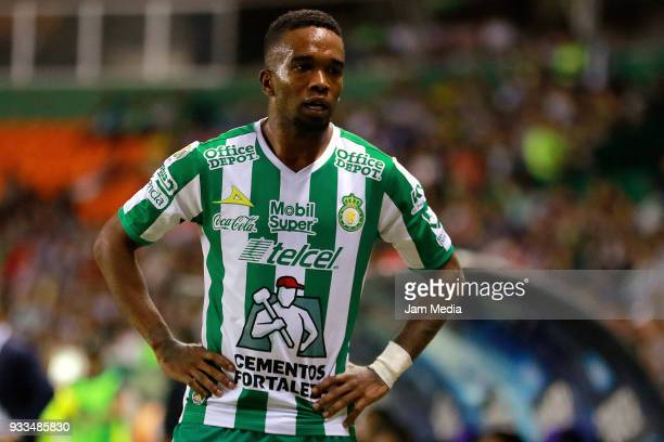 Hernan Burbano of Leonlooks on during the 12th round match between Leon and Lobos BUAP as part of the Torneo Clausura 2018 Liga MX at Leon Stadium on...
