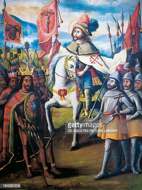 Hernan Cortes at the head of the Spanish Armada meeting the Aztec Emperor Montezuma II in the presence of St James on horseback detail from the...