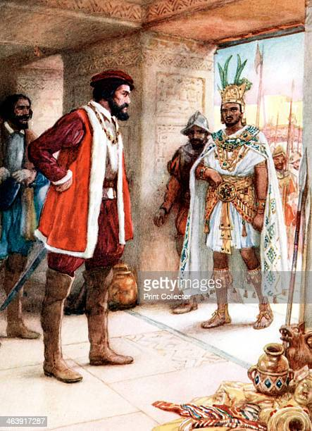 Hernan Cortes meeting the Aztec Emperor Montezuma 1519 Cortes was the Spanish conquistador who conquered Mexico and overthrew the Aztec Empire...