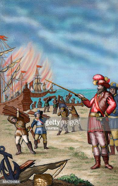 Hernan Cortes Spanish conqueror of Mexico Cortes destroying his fleet moored in the Villa Rica of the Vera Cruz to prevent defections among his crew...