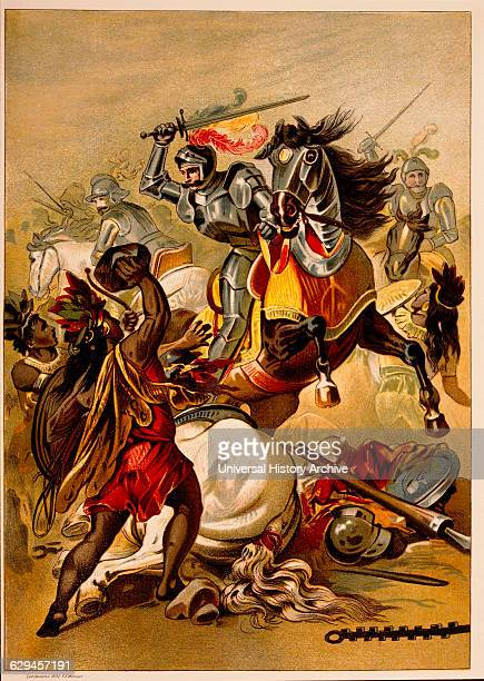 Hernan Cortes Spanish Conquistador Battle in Tlascalan Territory Mexico Chromolithograph from Painting by O Graeff 1892
