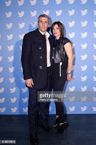 Hernan Crespo and Alessia Rossi Andra attend Twitter's 10th Anniversary party on March 21 2016 in Milan Italy