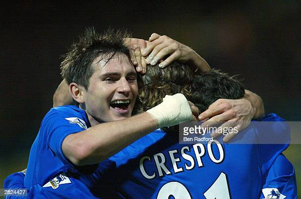 Hernan Crespo and Frank Lampard of Chelsea celebrate Crespo's goal during the FA Barclaycard Premiership match between Fulham and Chelsea at Loftus...