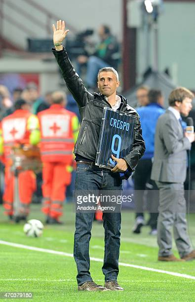 Hernan Crespo before the Serie A match between FC Internazionale Milano and AC Milan at Stadio Giuseppe Meazza in Milan Italy April 19 2015