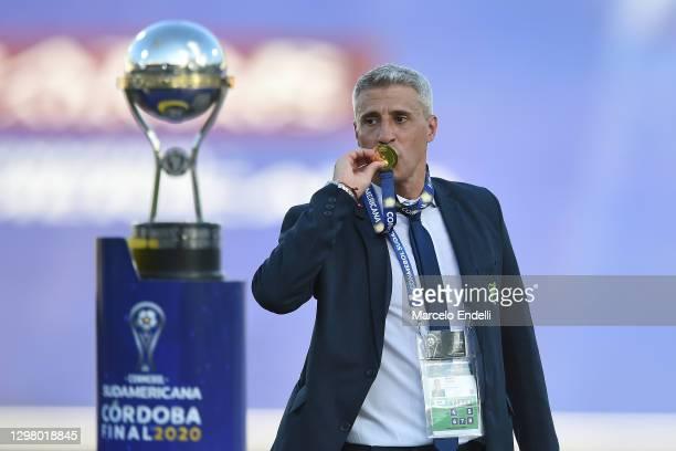 Hernan Crespo coach of Defensa y Justicia celebrates after the final of Copa CONMEBOL Sudamericana 2020 between Lanús and Defensa y Justicia at Mario...
