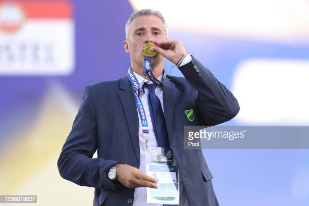 Hernan Crespo coach of Defensa y Justicia kisses the champions medal after the final of Copa CONMEBOL Sudamericana 2020 between Lanús and Defensa y...