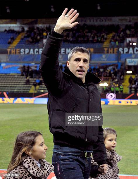 Hernan Crespo greets fans before the Serie A match between Parma FC and Juventus FC at Stadio Ennio Tardini on February 15 2012 in Parma Italy