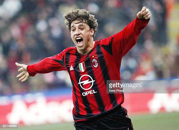Hernan Crespo of AC Milan celebrates during the Italian Serie A football match against Lazio February 6 2005 at San Siro stadium in Milan Italy
