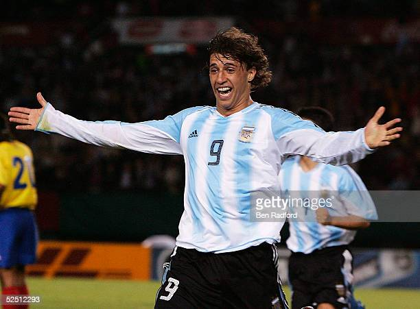 Hernan Crespo of Argentina celebrates his goal during the 2006 World Cup qualifying match between Argentina and Colombia at The River Plate Stadium...