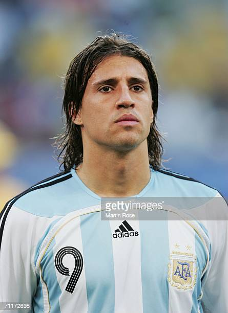 Hernan Crespo of Argentina lines up prior to the FIFA World Cup Germany 2006 Group C match between Argentina and Ivory Coast played at the Stadium...