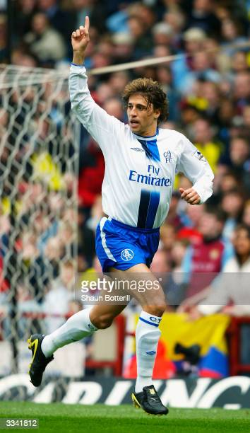 Hernan Crespo of Chelsea celebrates after scoring during the Barclaycard Premiership match between Aston Villa and Chelsea at Villa Park on April 12...