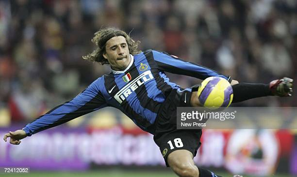 Hernan Crespo of Inter Milan in action during the Serie A match between Inter Milan and Ascoli at San Siro stadium on November 5 2006 in Milan Italy