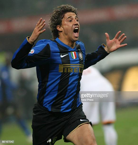 Hernan Crespo of Inter reacts during the Serie A match between Inter and Roma at the Stadio Meazza on March 01 2009 in Milan Italy