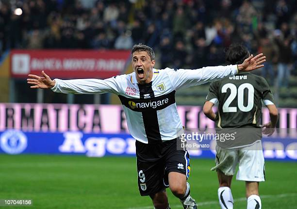 Hernan Crespo of Parma celebrates after scoring his opening goal during the Serie A match between Parma and Lazio at Stadio Ennio Tardini on November...