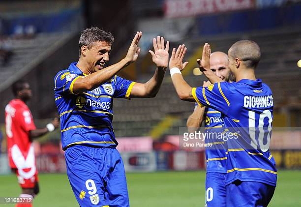 Hernan Crespo of Parma celebrates his team's third goal during the Tim cup match between Parma FC and US Grosseto at Stadio Ennio Tardini on August...
