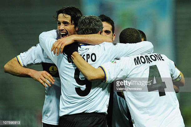 Hernan Crespo of Parma FC celebrates with his team mates after scoring during the Tim cup match between Parma FC and ACF Fiorentina at Stadio Ennio...