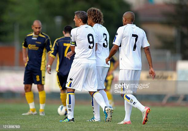 Hernan Crespo of Parma FC celebrates with teammates after scoring a goal during the Pre Season Tournament with Parma FC ASD Salsomaggiore and Fidenza...