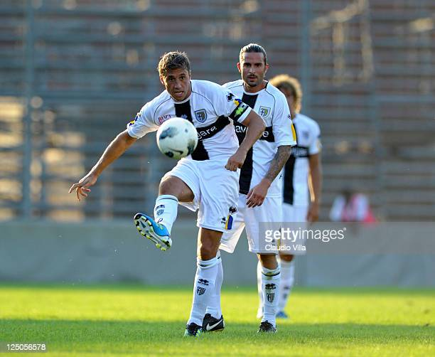 Hernan Crespo of Parma FC during the friendly match between Mantova and Parma FC at Danilo Martelli Stadium on September 15 2011 in Mantova Italy