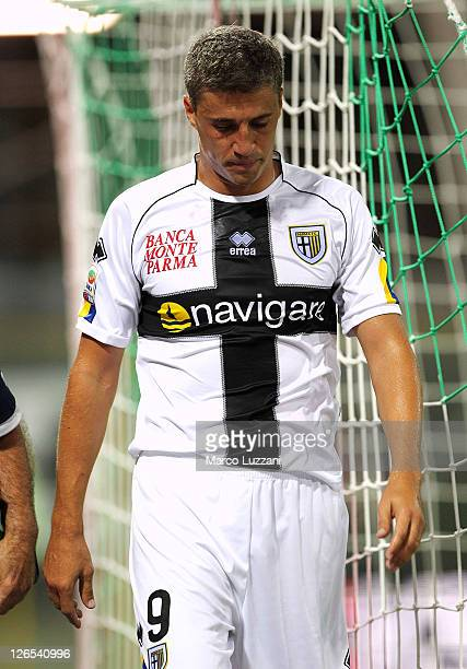 Hernan Crespo of Parma FC leaves the pitch injured during the Serie A match between Parma FC and AS Roma at Stadio Ennio Tardini on September 25 2011...
