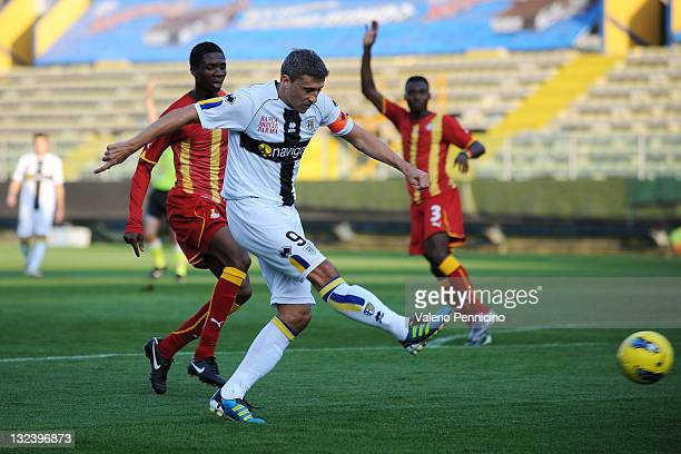 Hernan Crespo of Parma FC shoots at goal during the friendly match between Parma FC and Ghana at Stadio Ennio Tardini on November 12 2011 in Parma...