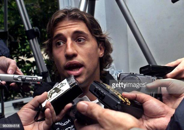 Hernan Crespo player of the Argentinian soccer team talks to the press at the Ezeiza sport complex in Buenos Aires where his team practices 01 June...