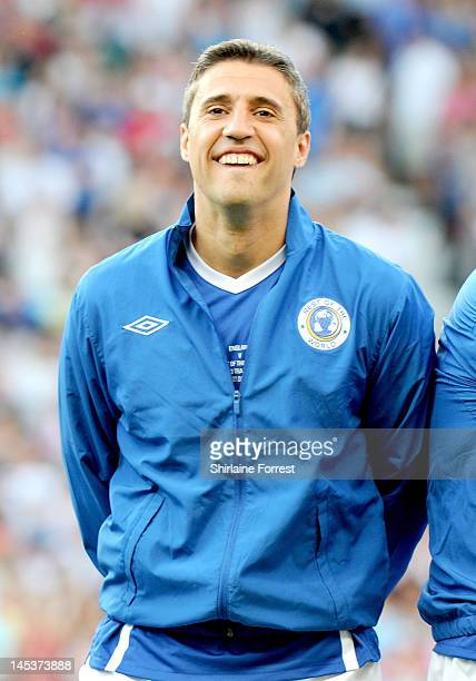 Hernan Crespo plays in charity football event Soccer Aid 2012 to raise funds for UNICEF on May 27 2012 in Manchester United Kingdom