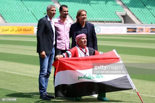 Hernan Crespo retired Argentine footballer Younis Mahmoud retired Iraqi footballer and Michel Salgado retired Spanish footballer pose for a picture...